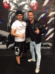 Lee Baxter (rechts) und Malte nach dem Videodreh im Hamburger Boxclub